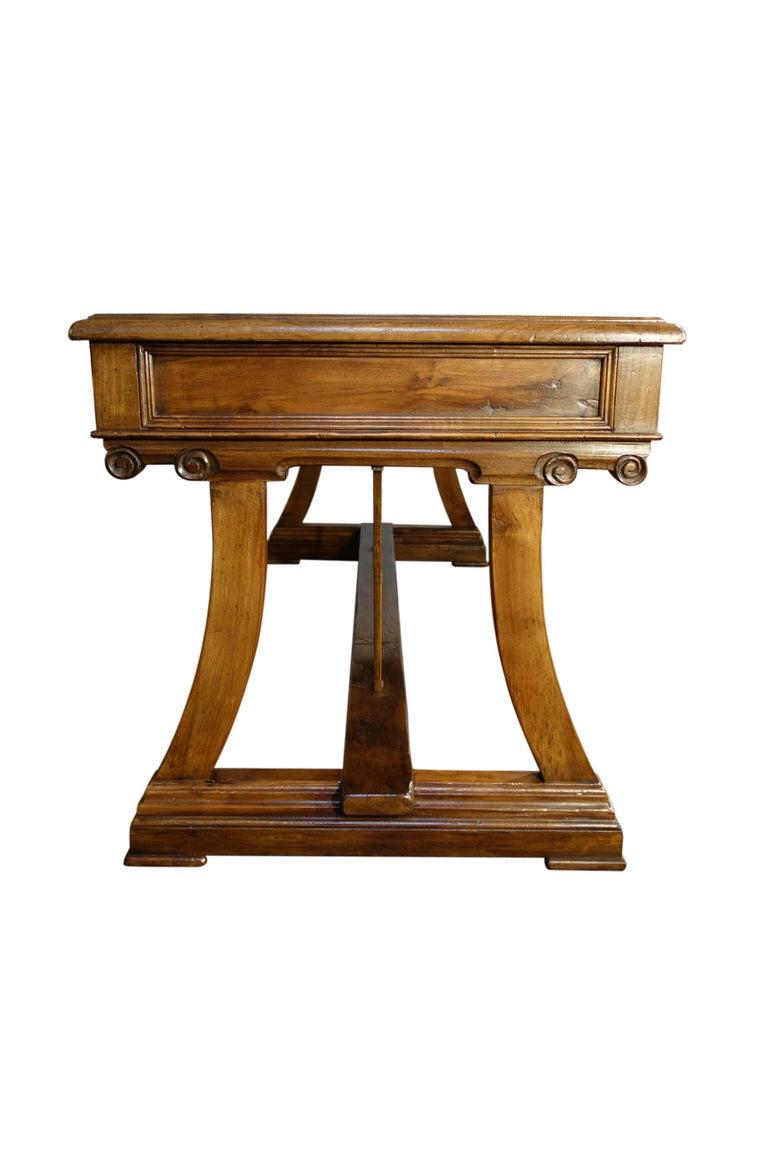 Baroque Mediterranean Style AMALFI Italian Old Walnut Writing Table, Custom Size For Sale