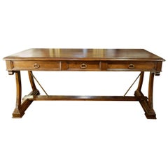 Mediterranean Style Italian Old Walnut Writing Table, Custom Size Available