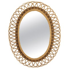 Mediterranean Two-Tone Wicker Rattan Sunburst Flower Oval Mirror, Spain, 1960s