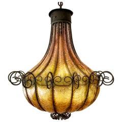 Mediterranean Wrought Iron Caged Blown Amber Glass Chandelier, Murano Art Glass