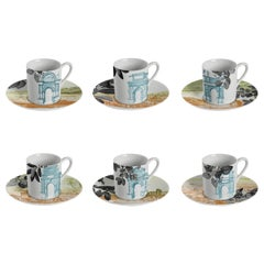 Mediterraneo, Coffee Set with Six Contemporary Porcelains with Decorative Design