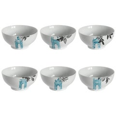 Mediterraneo, Six Contemporary Porcelain Bowls with Decorative Design