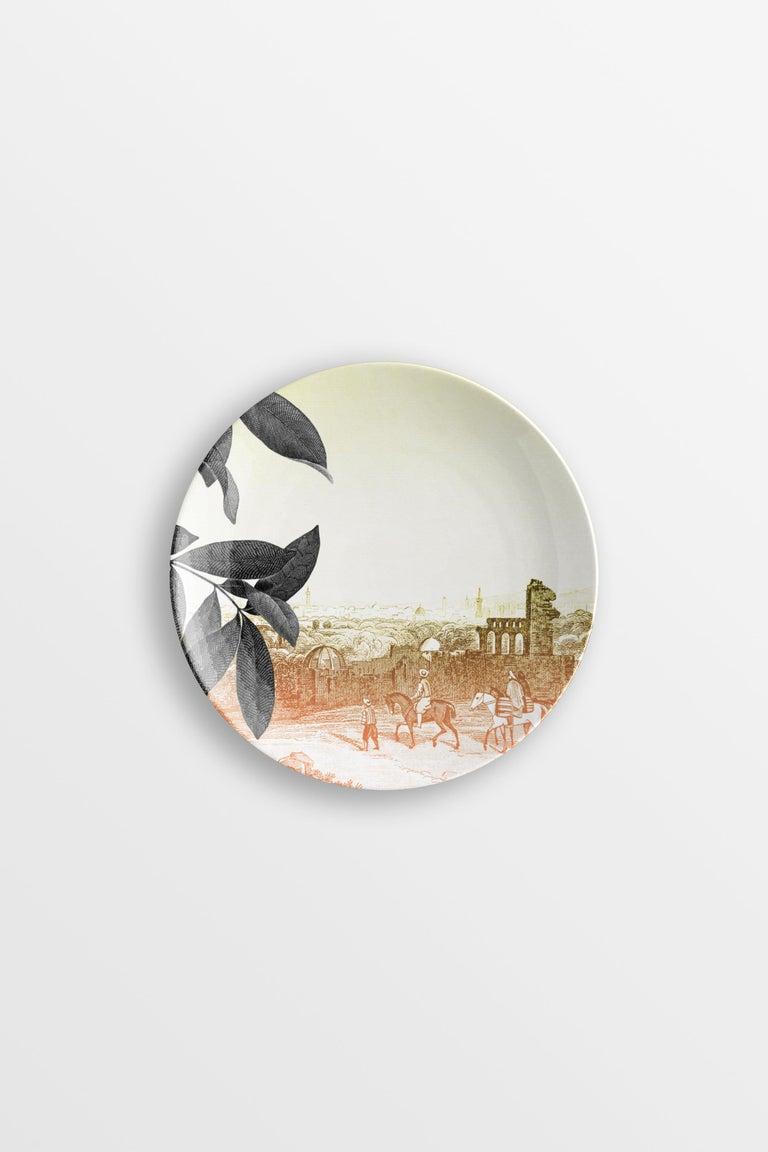 Italian Mediterraneo, Six Contemporary Porcelain Dessert Plates with Decorative Design For Sale