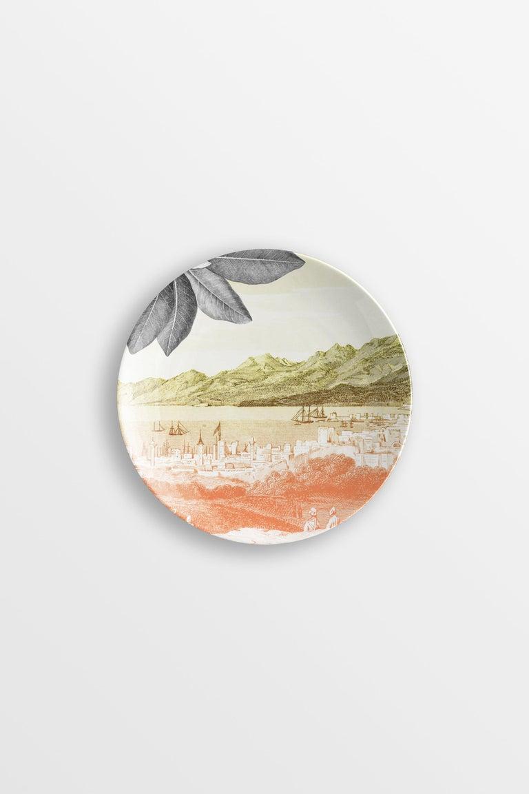 Mediterraneo, Six Contemporary Porcelain Dessert Plates with Decorative Design For Sale 1