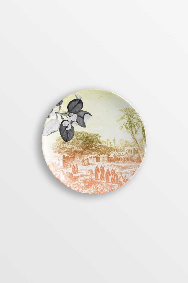 Mediterraneo, Six Contemporary Porcelain Dessert Plates with Decorative Design For Sale 2