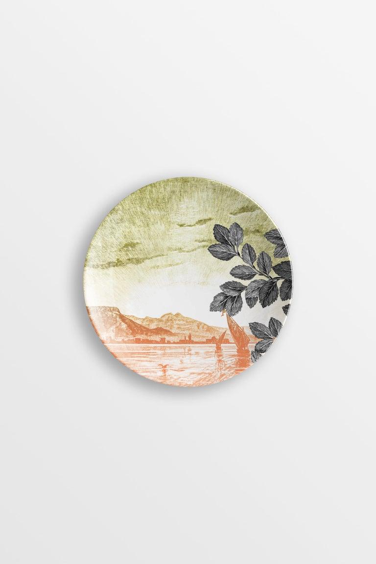 Mediterraneo, Six Contemporary Porcelain Dessert Plates with Decorative Design For Sale 3