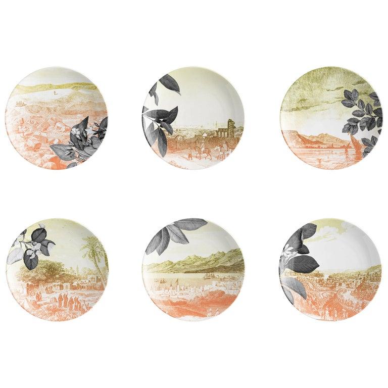 Mediterraneo, Six Contemporary Porcelain Dessert Plates with Decorative Design For Sale