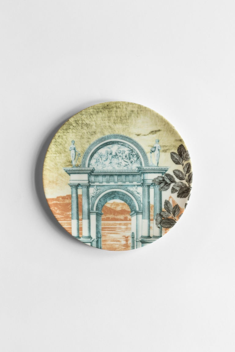 The Mediterraneo collection is the result of Vito Nesta's reflection on the line between reality and fantasy. The architectures of the doors depicted on the plates arise from technical drawings of monuments never realized but that inspired those