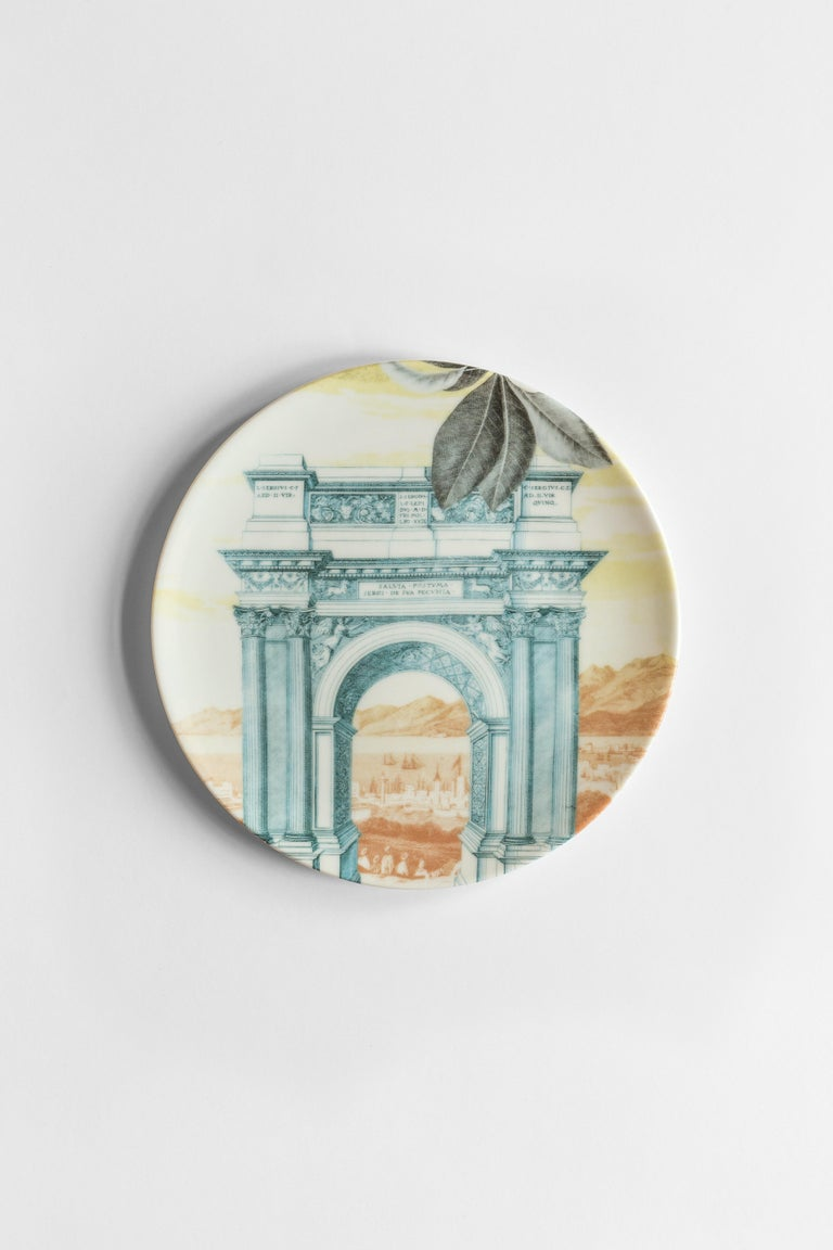 Mediterraneo, Six Contemporary Porcelain Dinner Plates with Decorative Design In New Condition For Sale In Milan, IT