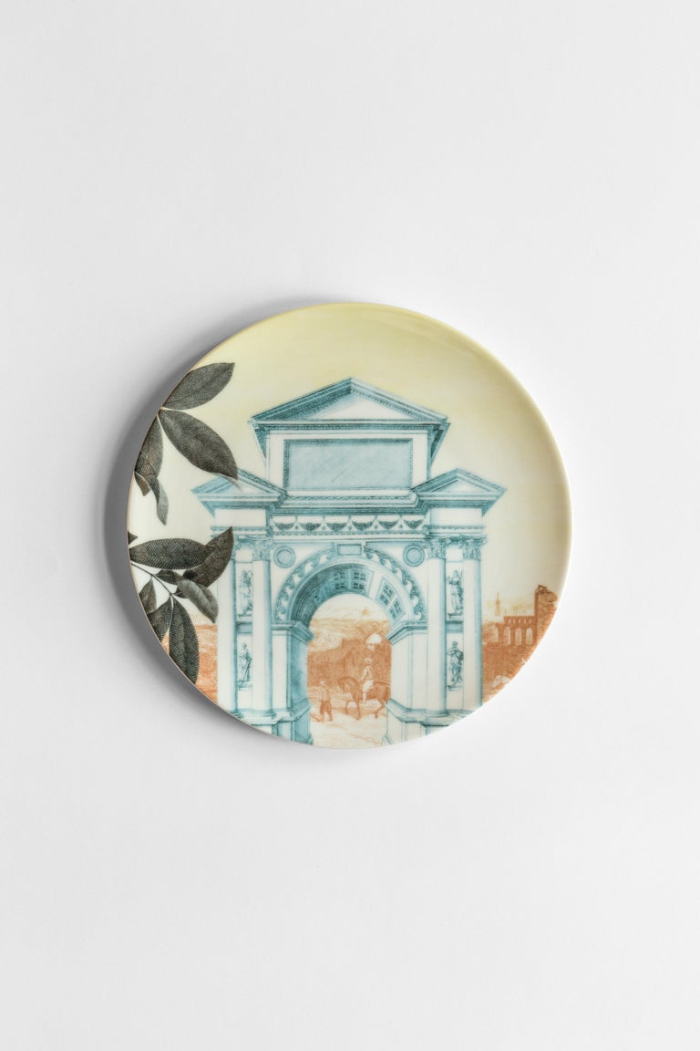 Mediterraneo, Six Contemporary Porcelain Dinner Plates with Decorative Design For Sale 2