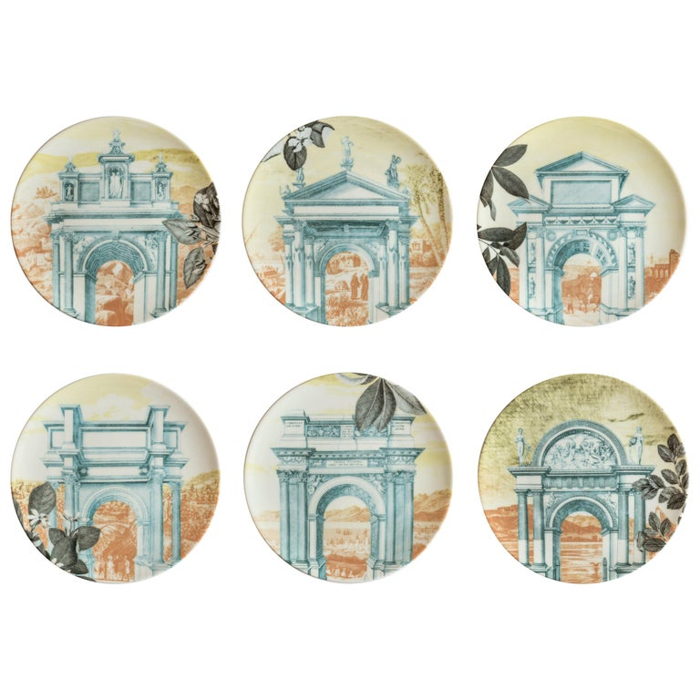 Mediterraneo, Six Contemporary Porcelain Dinner Plates with Decorative Design For Sale