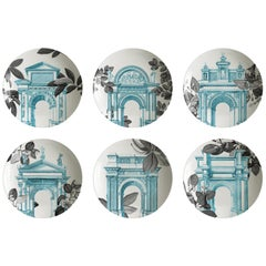 Mediterraneo, Six Contemporary Porcelain soup plates with Decorative Design