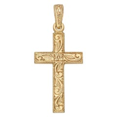 Medium 14k Yellow Gold Engraved Cross Pendant