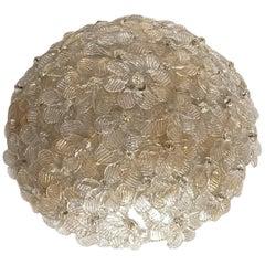 Medium Barovier Toso Flushmount Murano Glass Gold and Ice Flowers Basket, 1950s