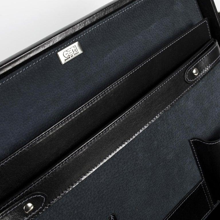 Leather Medium Black Pagoda Attachè Case For Sale