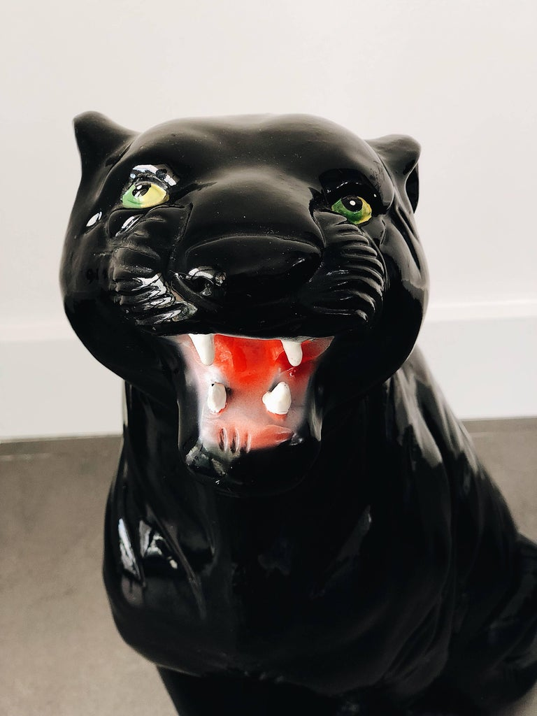Hand-Painted Medium Black Panther Ceramic Sculpture, Italy, 1960s For Sale