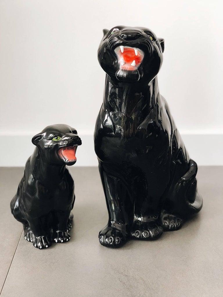 20th Century Medium Black Panther Ceramic Sculpture, Italy, 1960s For Sale