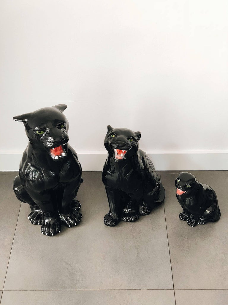Medium Black Panther Ceramic Sculpture, Italy, 1960s For Sale 2