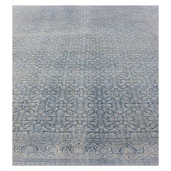 Medium Blue and Ivory Background Persian Tabriz Rug with All-Over Herati Design