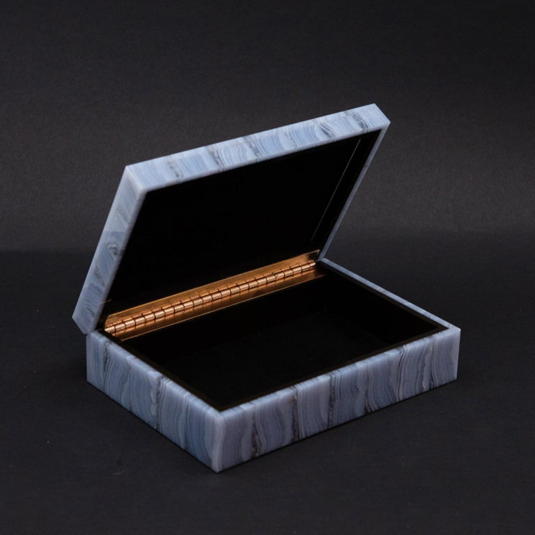 Contemporary Medium Blue Lace Agate Hinged Stone Box For Sale