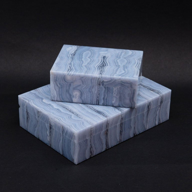 Medium Blue Lace Agate Hinged Stone Box For Sale 1