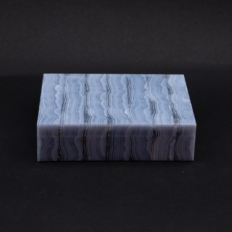 Medium Blue Lace Agate Hinged Stone Box For Sale 2