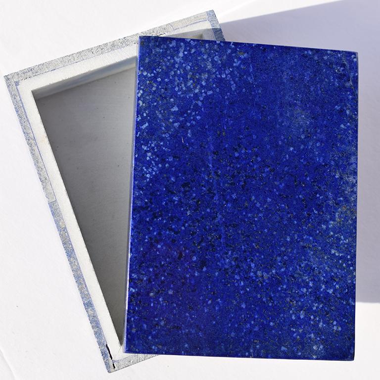 Grand Tour Medium Blue Lapis Lazuli and Marble Stone Rectangular Jewelry or Trinket Box For Sale