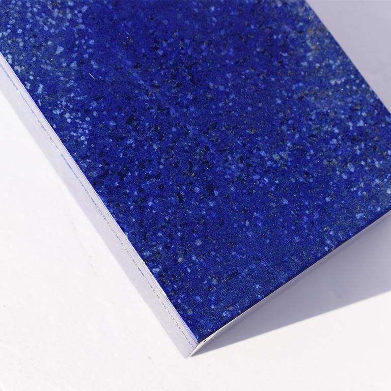 Unknown Medium Blue Lapis Lazuli and Marble Stone Rectangular Jewelry or Trinket Box For Sale