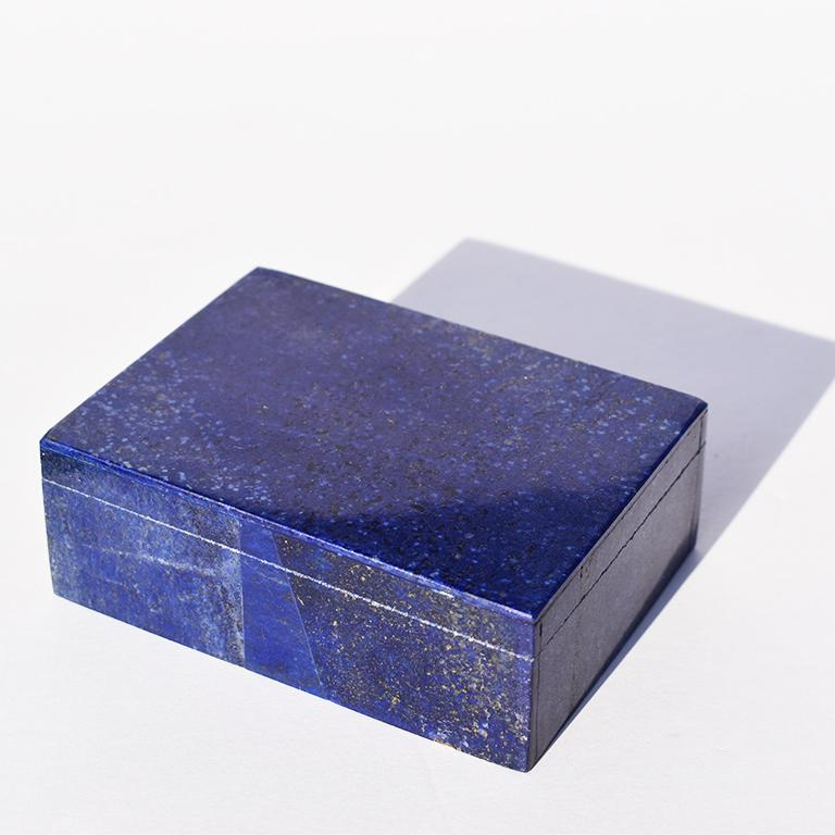 Medium Blue Lapis Lazuli and Marble Stone Rectangular Jewelry or Trinket Box In Good Condition For Sale In Oklahoma City, OK