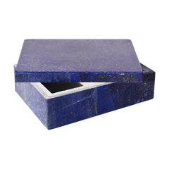 Medium Blue Lapis Lazuli and Marble Stone Rectangular Jewelry or Trinket Box