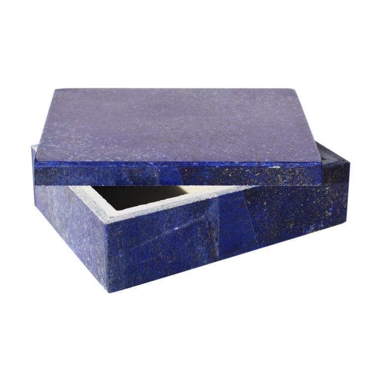 Medium Blue Lapis Lazuli and Marble Stone Rectangular Jewelry or Trinket Box For Sale