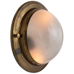 Medium Brass and Frosted Glass Flushmount, Italy, circa 1950