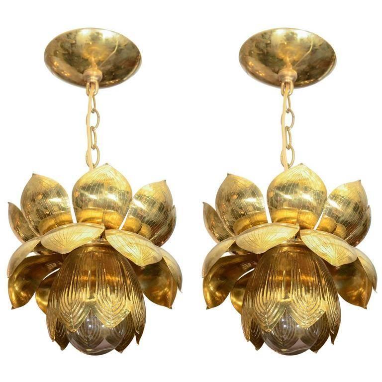 Medium Brass Lotus Form Pendant Ceiling Fixtures by Feldman