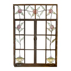 Medium Casement Window with Stained Glass Roses
