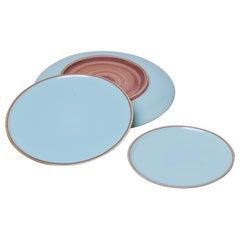 Medium Celadon Glazed Porcelain Hermit Plate with Rustic Rim