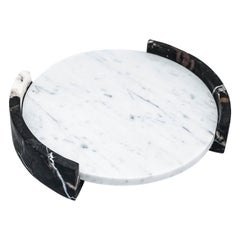 Medium Circular Triptych Tray in White Carrara Marble