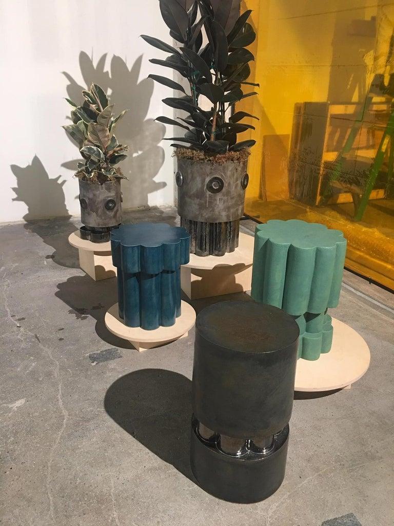Modern Medium Contemporary Ceramic Acai Matte and Palladium Ruffle Planter For Sale