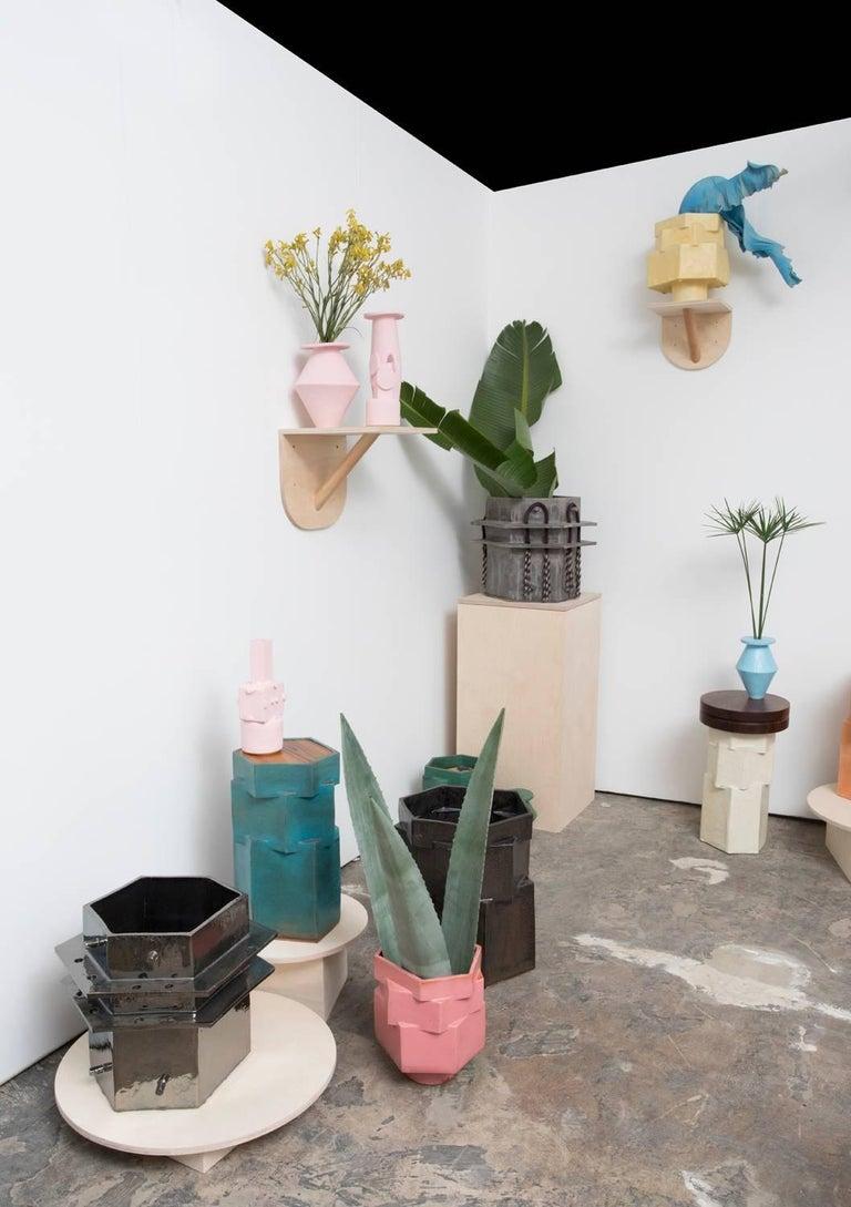 Medium Contemporary Ceramic Acai Matte and Palladium Ruffle Planter In New Condition For Sale In Los Angeles, CA
