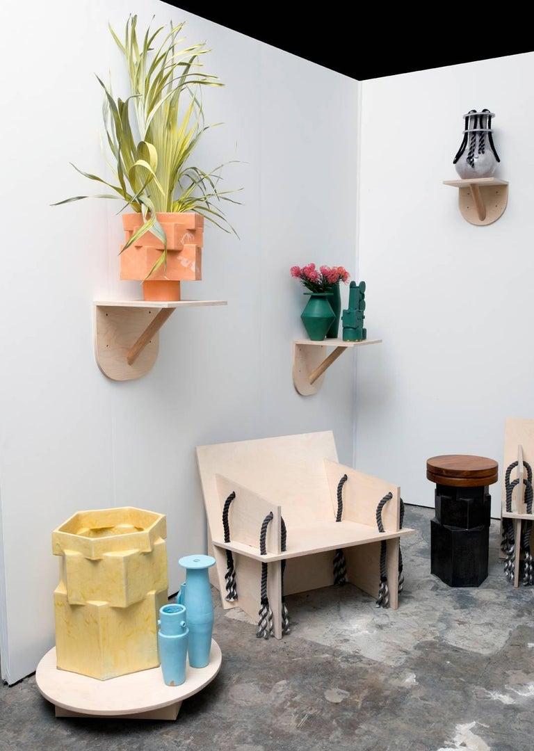 Oak Medium Contemporary Ceramic Acai Matte and Palladium Ruffle Planter For Sale