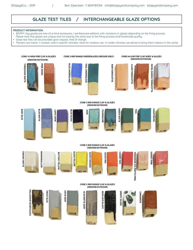 Medium Contemporary Ceramic Acai Matte and Palladium Ruffle Planter For Sale 2