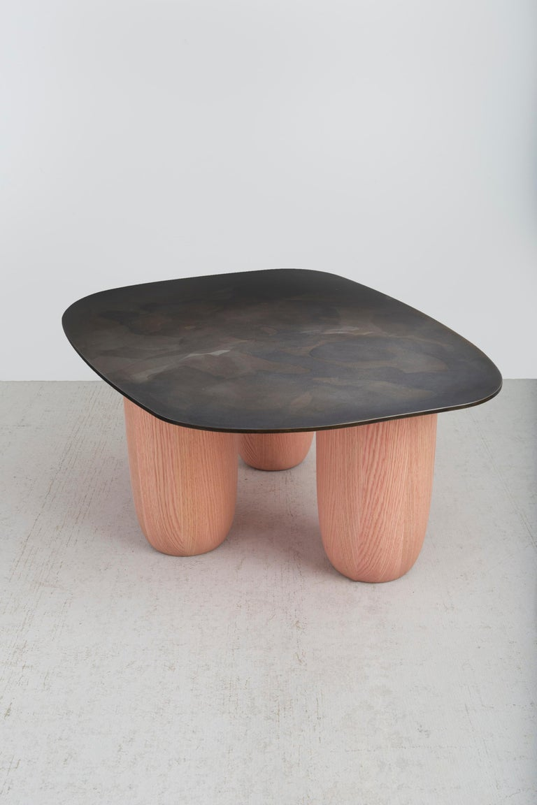Minimalist Medium Contemporary Steel and Oak Low Sumo Table by Vivian Carbonell For Sale