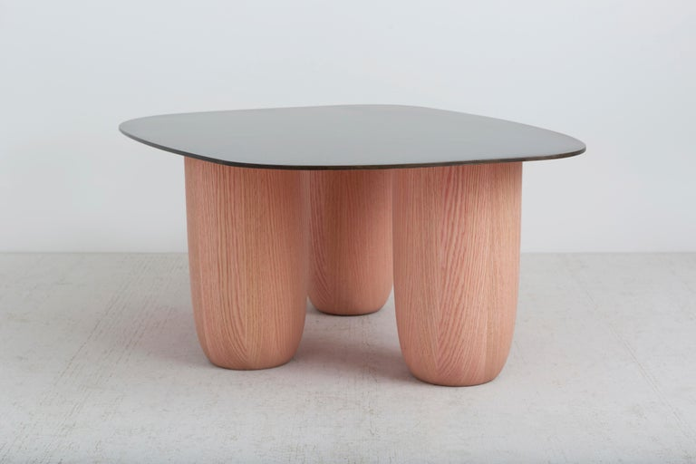 Patinated Medium Contemporary Steel and Oak Low Sumo Table by Vivian Carbonell For Sale