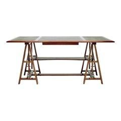 Medium Dark Walnut Architect Adjustable Desk with Black or Brown Leather Insets