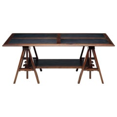 Medium Dark Walnut Architect Coffee Table with Black or Red Leather Insets