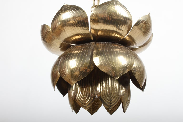 Medium Feldman Lighting Company Brass Lotus Chandelier or Pendant In Good Condition For Sale In St. Louis, MO