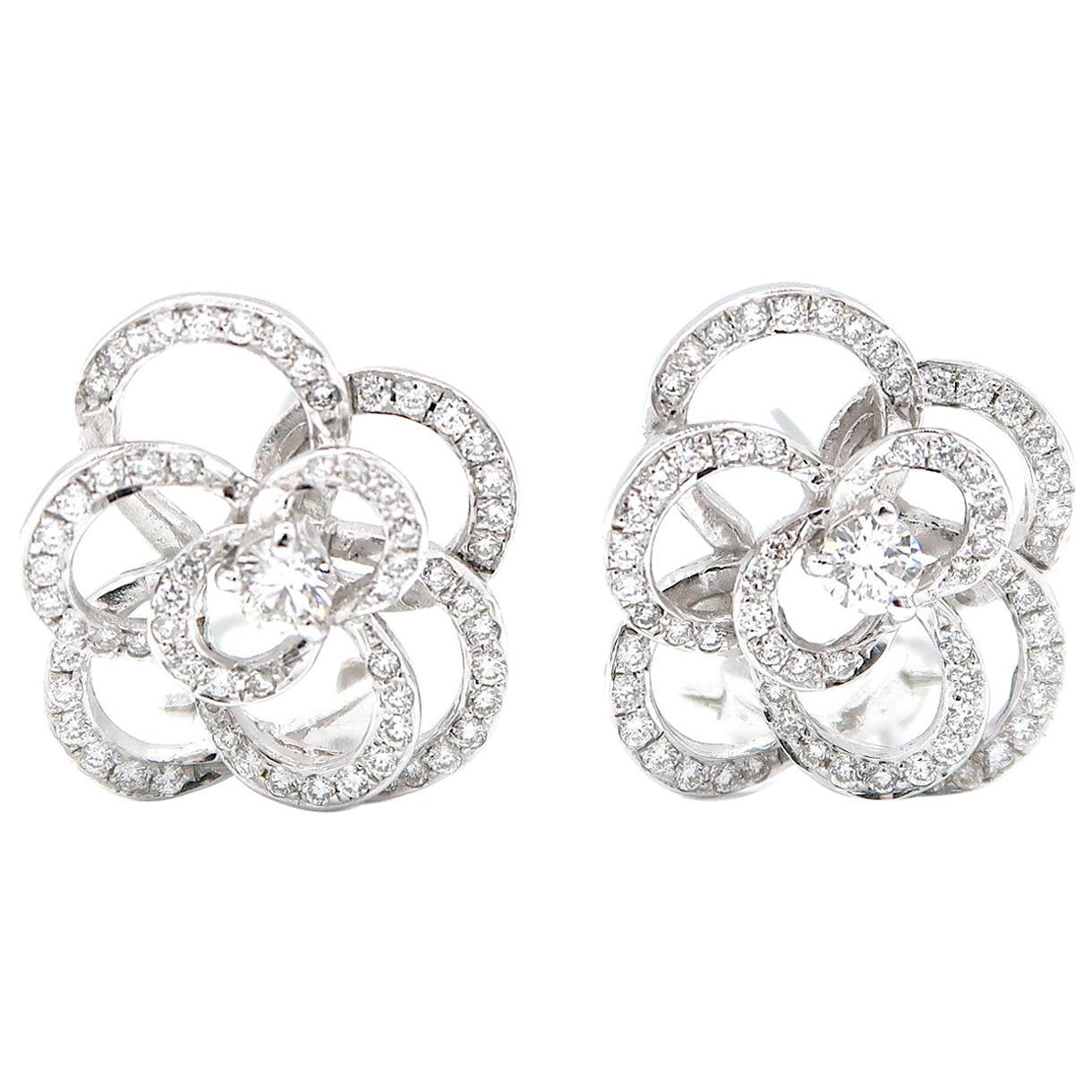 Medium Floral Silhouette Diamond Clip-On Earrings in 18 Karat White Gold