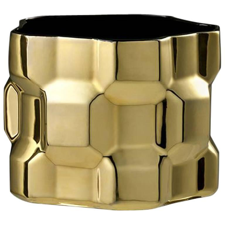 Medium Gear Vase in Glossy Gold by Phillippe Bestenheider for Driade For Sale