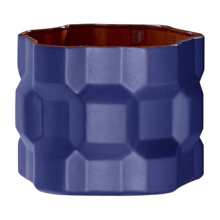 Medium Gear Vase in Matte Blue by Phillippe Bestenheider for Driade For Sale