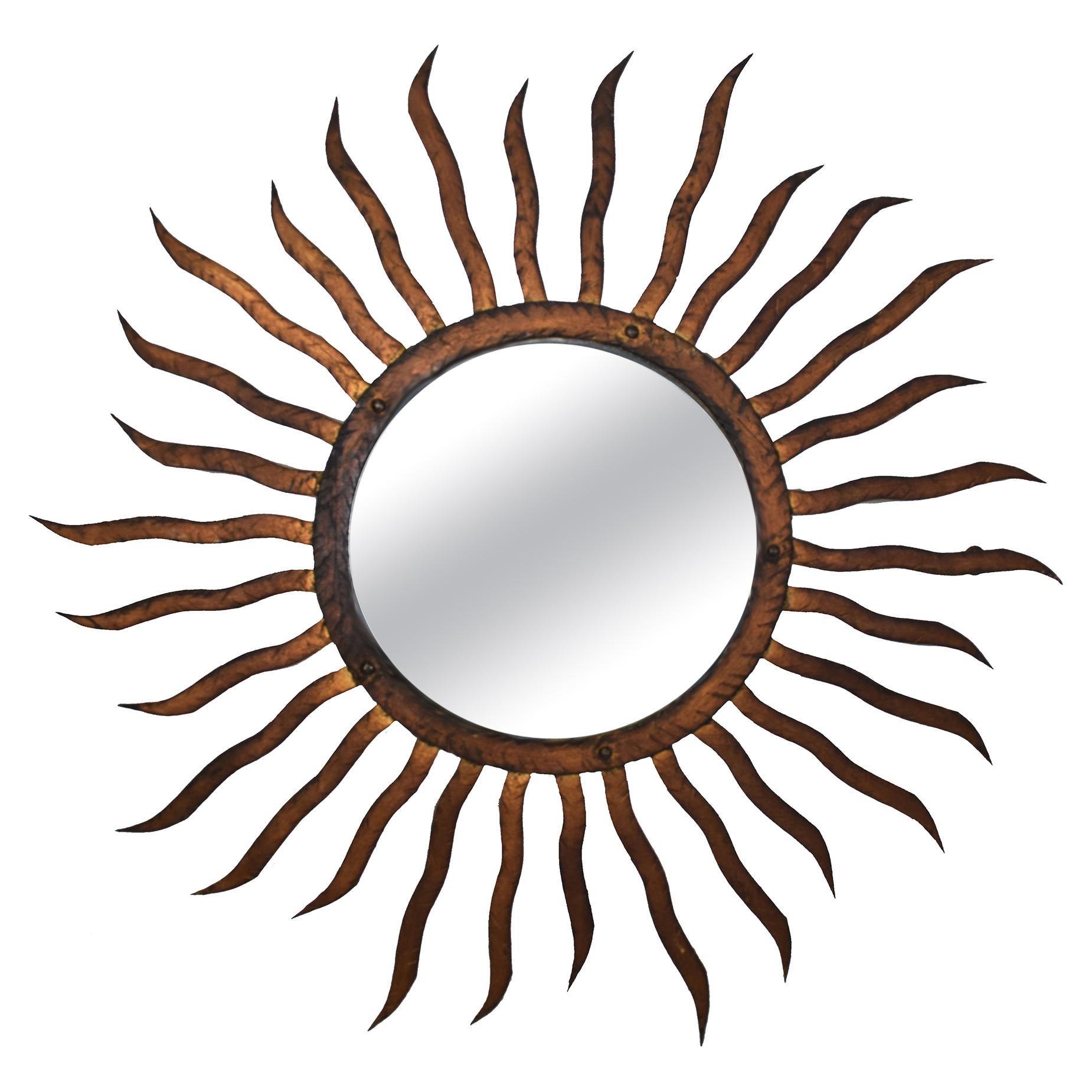 Gilded Iron Sun or Soleil Mirror
