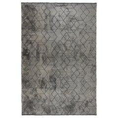 Medium Gray Tonal Dark Gray Pattern Contemporary Design Luxury Soft Rug